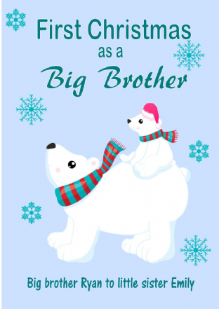 Personalised Big Brother to Little Sister Christmas Card Design 1